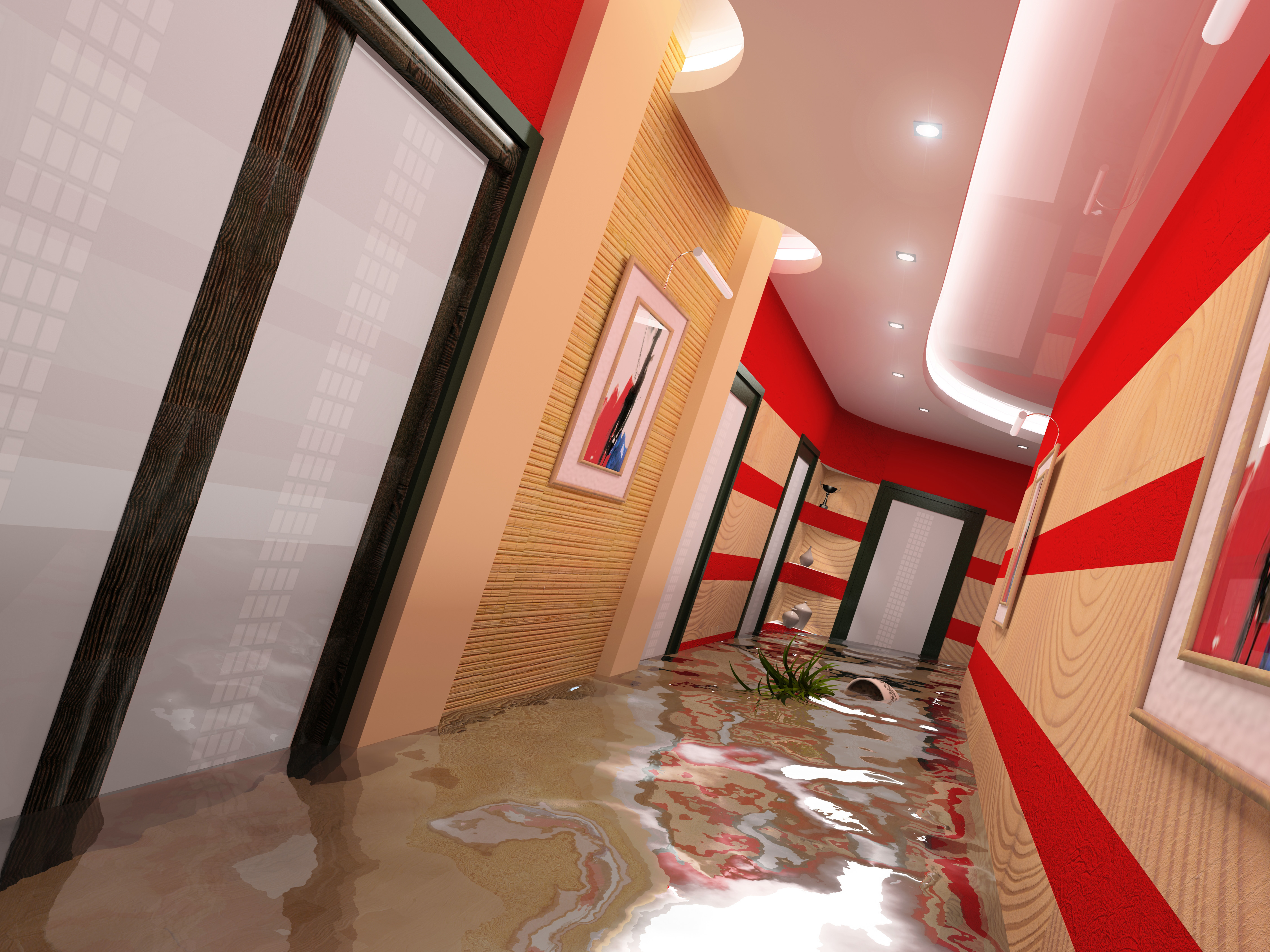 Flooded hotel corridor